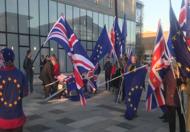 Anti-Brexit protests outside the University of Kent